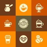 Koffiepictogrammen in de Vlakke Stijl die van de Ontwerpkleur worden geplaatst stock illustratie