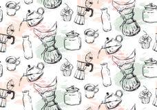 Koffiepictogrammen of embleem in naadloos patroon, voor koffiewinkel Ik houd van koffie Naadloze koffie Geïsoleerd op wit Koffiep Royalty-vrije Stock Afbeelding