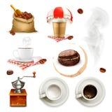 Koffiepictogrammen en elementen royalty-vrije illustratie