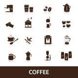 Koffiepictogrammen geplaatst eps10 Stock Afbeeldingen