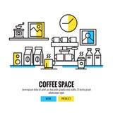 Koffieruimte koffiewinkel, koffiebar, teller, achtergrond stock illustratie
