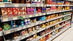 Koffiesectie in grote hypermarket Royalty-vrije Stock Afbeelding