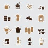 Koffiestickers eps10 Stock Afbeeldingen