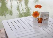 Koffietafel dichtbij een rivier Stock Afbeeldingen