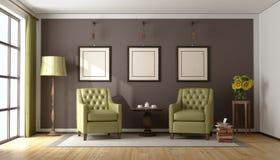 Koffietijd in een klassieke woonkamer Stock Afbeelding