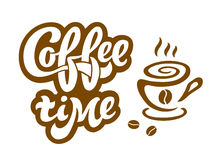 Koffietijd - het met de hand geschreven van letters voorzien voor restaurant, koffiemenu, winkel Royalty-vrije Stock Afbeeldingen
