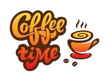 Koffietijd - het met de hand geschreven van letters voorzien voor restaurant, koffiemenu, winkel Royalty-vrije Stock Fotografie