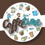 Koffietijd, het van letters voorzien kalligrafie Vector illustratie Stock Afbeeldingen
