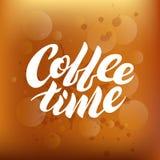 Koffietijd het witte vector van letters voorzien op een bruine gradiëntachtergrond vector illustratie