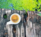 Koffietijd in tuin Stock Fotografie