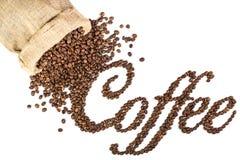 Koffietitel van geroosterde koffiebonen die wordt gemaakt. Royalty-vrije Stock Foto