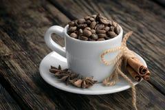 Koffietrio - koffiebonen, kaneel en steranijsplant Stock Foto