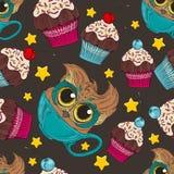 Koffieuil en cupcake Royalty-vrije Stock Afbeelding
