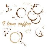 Koffievlekken, liefde Stock Afbeelding