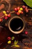 Koffievruchten en geroosterde koffiebonen stock afbeelding