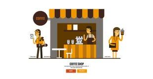 Koffiewinkel op de straat met klanten royalty-vrije illustratie