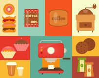 Koffiewinkel, pictogrammen en toebehoren Stock Foto's