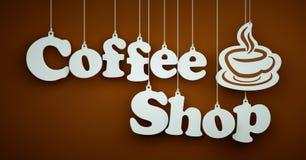 Koffiewinkel - Witte Brieven die op de Kabels hangen Royalty-vrije Stock Foto