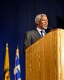 Kofi Anan parlant lors de la conférence Photographie stock