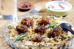 Kofta Biryani - A kofta based vegetarian biryani. Kofta Biryani - Kofta is a family of meatball or dumpling dishes in India. In the simplest form, koftas consist Stock Image