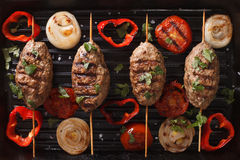 Kofta kebab with grilled vegetables on grill close-up. horizonta Royalty Free Stock Photography
