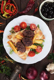 Kofta kebab, minced meat skewer. Kofta kebab, oriental minced meat skewer with pita bread and french fries Royalty Free Stock Photo