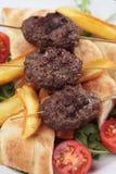 Kofta kebab, minced meat skewer. Kofta kebab, oriental minced meat skewer with salad and french fries Royalty Free Stock Photography