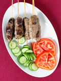 Kofta plate and salad from above Royalty Free Stock Image