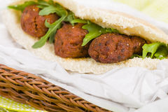 Koftas. Asian style meatballs served with salad Stock Photo