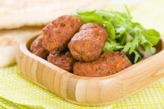 Koftas. Asian style meatballs served with salad and pita bread Stock Photos