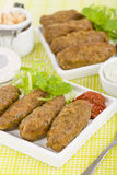 Koftas. Lamb  served with harissa. Middle Eastern meal stock photo