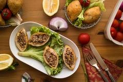 Kofte de Icli/falafel relleno de la albóndiga Fotografía de archivo