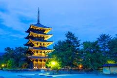 Kofuku-Ji Five Storied Pagoda Lighted Evening H Royalty Free Stock Photos