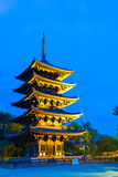 Kofuku-Ji Five Story Pagoda Lighted Blue Hour Sky Stock Photos