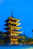 Kofuku-Ji Five Story Pagoda Lighted Blue Hour Sky Stock Photos