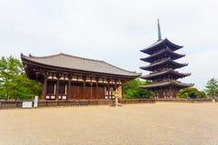 Kofuku-Ji het Oosten Hall Five Story Pagoda Overcast H Royalty-vrije Stock Afbeeldingen