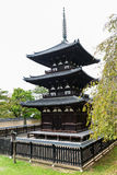 Kofukuji寺庙的三层塔在奈良 免版税图库摄影