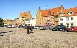 Koge, Denmark - September 25, 2018 - Well-preserved old houses in the center of Koge. stock photography
