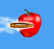 Kogel die een appel doordringt Royalty-vrije Stock Afbeeldingen