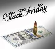 Kogel op de dollarrekening Benjamin franklin stock afbeelding