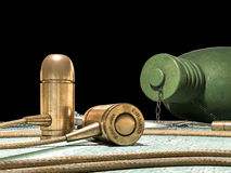 Kogelhoofdtelefoon, fles en symbolisch concept Stock Fotografie