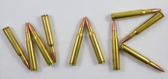 Kogels die de woordoorlog spellen Stock Afbeelding