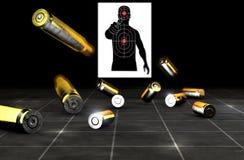 Kogels en shells van een vuurwapen Kanonmunitie op een zwarte achtergrond stock afbeeldingen