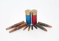 Kogels 7 62, 22LR, 22LRM, 54R en jachtgeweershell Stock Foto's