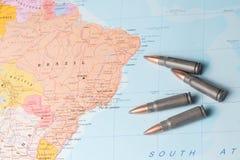 Kogels op de kaart van Brazilië Stock Foto