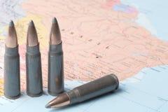 Kogels op de kaart van Brazilië Stock Foto's