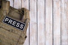 Kogelvrij vest voor pers stock afbeeldingen
