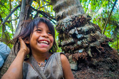 Kogi people, indigenous ethnic group, Colombia. MAGDALENA, COLOMBIA - FEBRUARY 20, 2015: Unknow girl belonging to the Kogi people, indigenous ethnic group royalty free stock photos