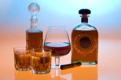 Kognak und Whisky stockbild