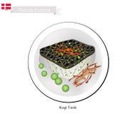 Kogt Torsk ή βρασμένος βακαλάος, ένα δημοφιλές πιάτο στη Δανία απεικόνιση αποθεμάτων